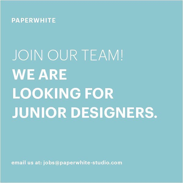 Instagram: We are looking for talented designers to join the team in NYC AND GRAZ- email us at jobs@paperwhite-studio.com ! ⭐️??